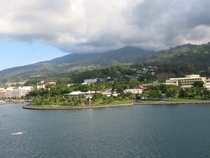 Island of Tahiti from on board ship
