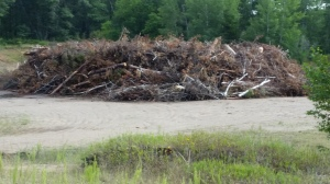 One of many brush and log piles following July's storm.