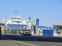 Cars exiting one of the ferries on Victoria